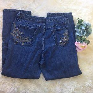 Chico's Bling Rhinestone Pocket Jeans 2.5 14 Short